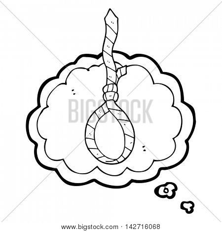 freehand drawn thought bubble cartoon work tie noose
