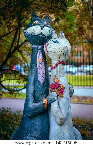 Moscow, Russia - August 3,2016: Sculpture Of Two Cats Loving Couple Newlyweds