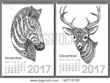 Calendar 2017. Beautiful ornate hand drawn animals for every month. Vector illustration. Two months lists november, december with zebra, deer.