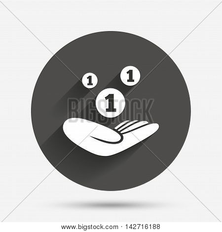 Donation hand sign icon. Hand holds coins. Charity or endowment symbol. Human helping hand palm. Circle flat button with shadow. Vector