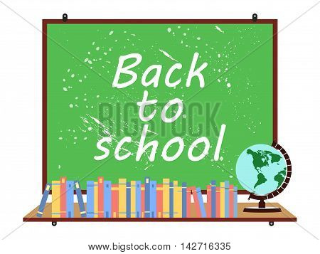 School Blackboard. Globe And Telescope. Back To School. Textbooks. Vector Illustration.
