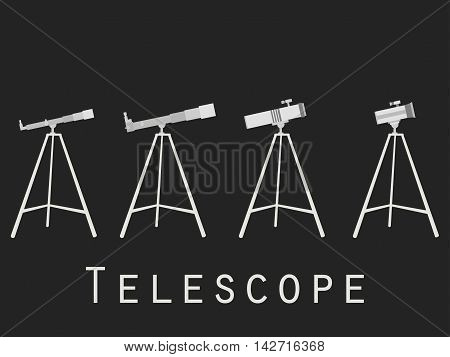 Telescope Icons In Flat Style. Vector Illustration.