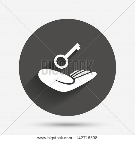 House insurance sign. Hand holds home key symbol. Insurance of property. Circle flat button with shadow. Vector