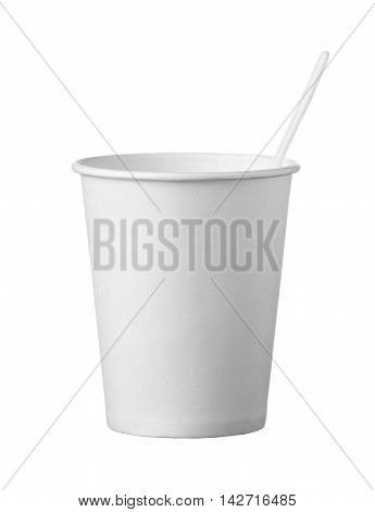 Cardboard Disposable Cup With Spoon Isolated On White Background