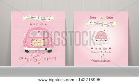 Just married car wedding invitation card on Wood Background