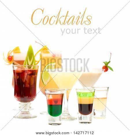 Alcohol Shot Drink on fancy blurred Cocktails Background