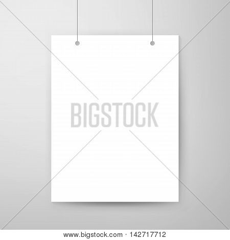 Empty Poster Template. Vector Illustration of Paper Sheet for Presentation Hanging on a Thread.