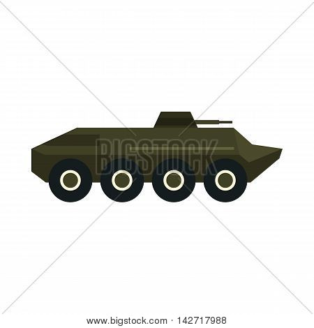 Armoured troop carrier wheeled icon in flat style on a white background