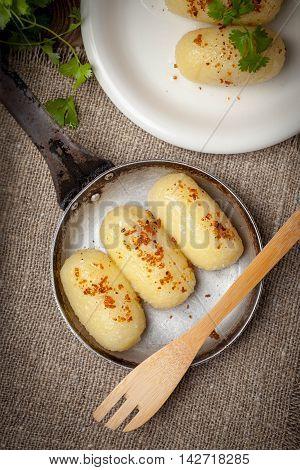 Potato Dumplings Stuffed With Minced Meat.