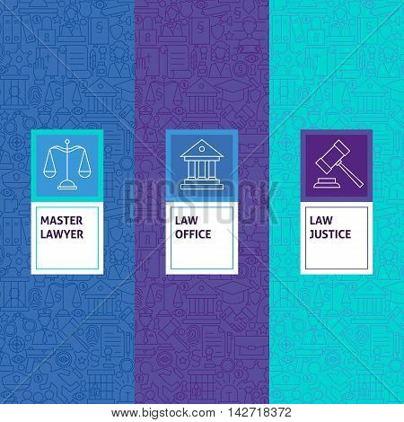 Line Law Justice Patterns Set. Vector Illustration of Logo Design. Template for Packaging with Labels.