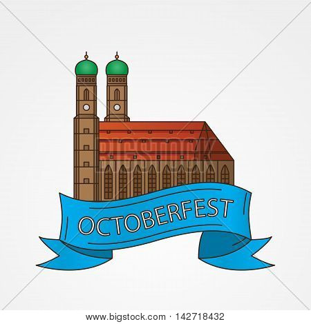 Vector Linear icon of German Towers of Frauenkirche Cathedral Church in Munich Munchen , Germany. The symbol of the Oktoberfest Front view.