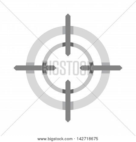 Crosshair reticle icon in flat style on a white background