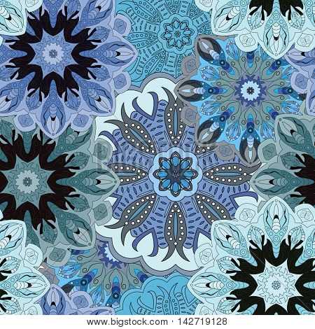 Blue colored seamless pattern with eastern floral ornament. Floral oriental design in aztec turkish pakistan indian chinese japanese style. Wrapping paper or front-side vector art