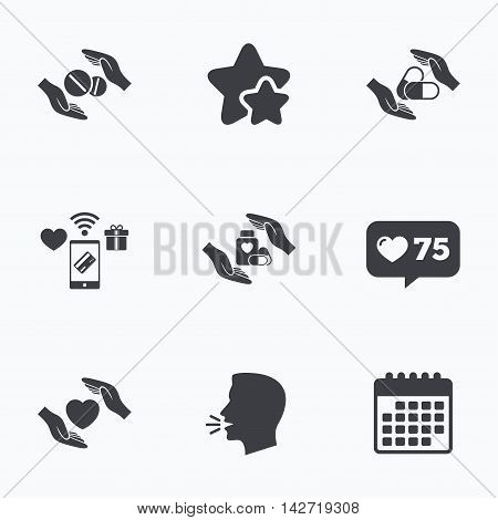 Hands insurance icons. Health medical insurance symbols. Pills drugs and tablets bottle signs. Flat talking head, calendar icons. Stars, like counter icons. Vector