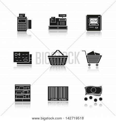 Supermarket drop shadow black icons set. Grocery store. Pos terminal, cash register, atm machine, credit card, shopping basket and cart, shop shelves, barcode, cash. Isolated vector illustrations