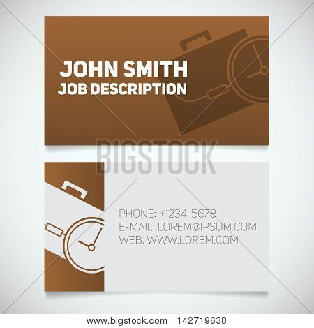 Business card print template with briefcase and clock logo. Easy edit. Manager. Work management. Businessman. Stationery design concept. Vector illustration