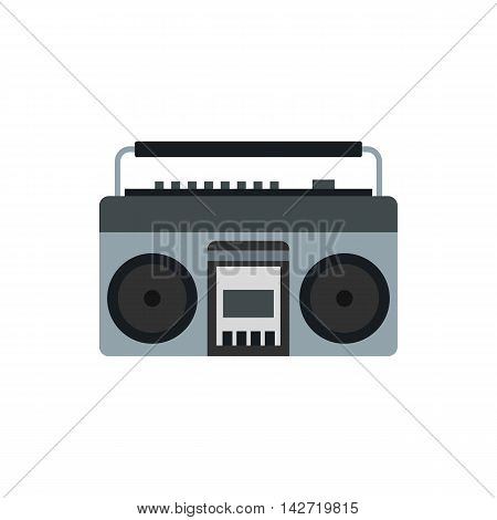 Boom box or radio cassette tape player icon in flat style on a white background