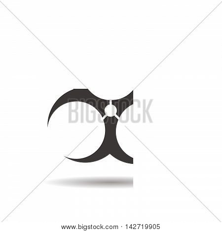 Biohazard icon. Drop shadow silhouette symbol. Bio hazard negative space sign. Vector isolated illustration