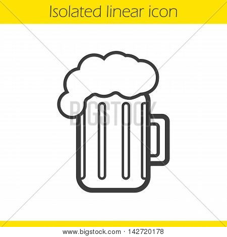 Beer mug linear icon. Thin line illustration. Foamy beer glass contour symbol. Vector isolated outline drawing