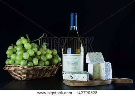 ODESSA UKRAINE - AUGUST 4 2016: Italian dry white wine bottle of