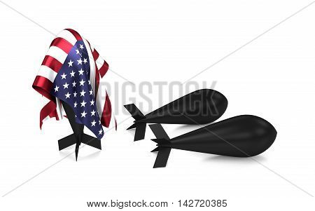 A bomb hidden under a USA flag. 3D rendering