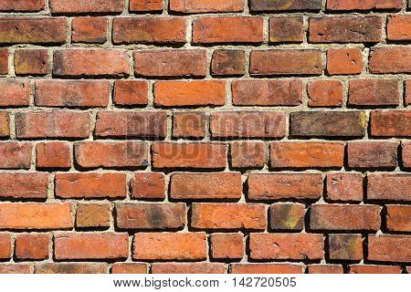 Macro view of old brick wall background
