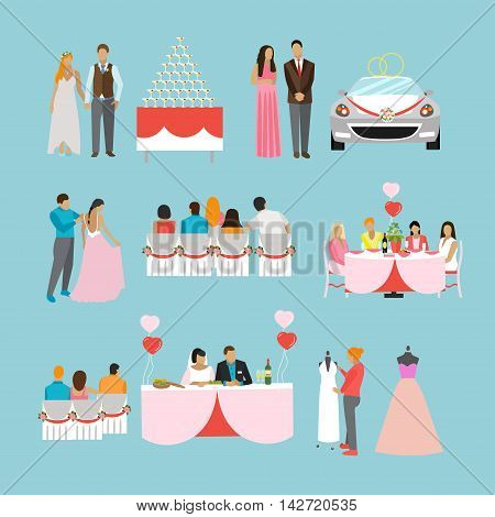 Wedding ceremony design vector isolated icons. Wedding party objects.