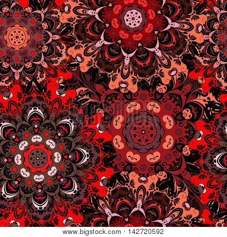 Deep red seamless pattern with eastern floral ornament. Floral oriental design in aztec turkish pakistan indian chinese japanese style. Wrapping paper or front-side vector art