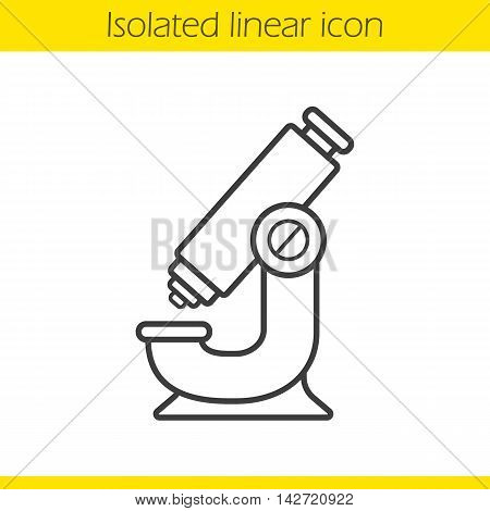 Microscope linear icon. Thin line illustration. Science research contour symbol. Vector isolated outline drawing