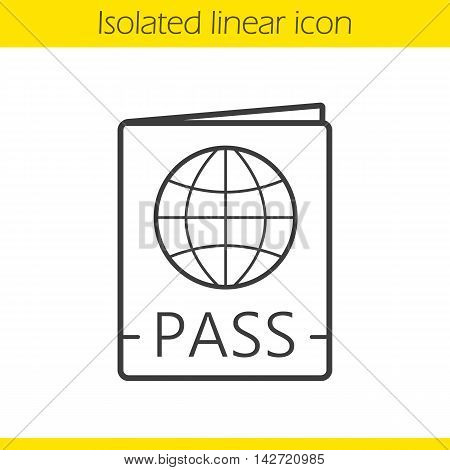 International passport linear icon. Travel pass with globe sign. Thin line illustration. Contour symbol. Vector isolated outline drawing