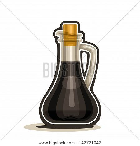 Vector logo glass decanter with handle filled soy sauce, cartoon cruet dark balsamic vinegar with cork wooden cap isolated on white background
