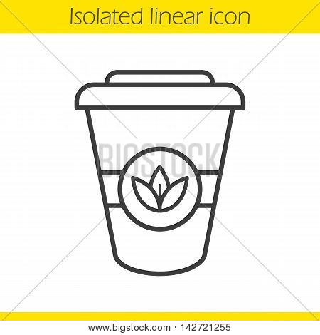 Takeaway tea cup linear icon. Thin line illustration. Paper herbal tea cup with leaves sign. Contour symbol. Vector isolated outline drawing