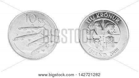 10 icelandic krona coin isolated on white background
