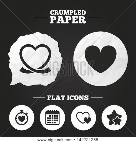 Crumpled paper speech bubble. Heart ribbon icon. Timer stopwatch symbol. Love and Heartbeat palpitation signs. Paper button. Vector