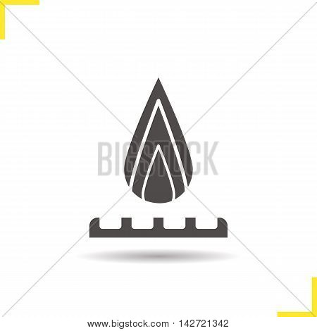 Gas burner icon. Drop shadow burning stove silhouette symbol. Gas industry pictogram. Negative space. Vector isolated illustration