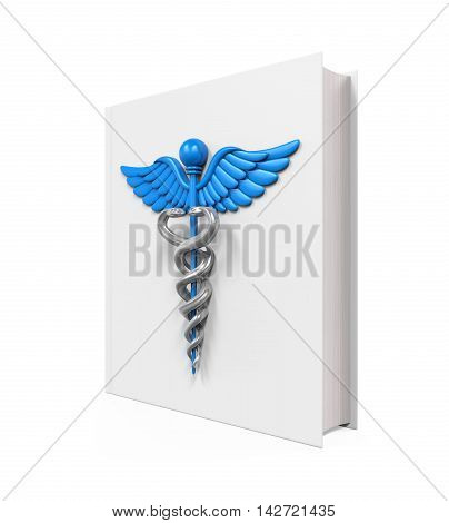 Medical Book with Caduceus Symbol isolated on white background. 3D render