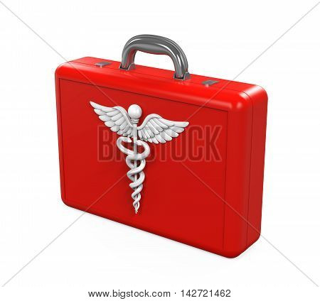 First Aid Kit with Caduceus Symbol isolated on white background. 3D render