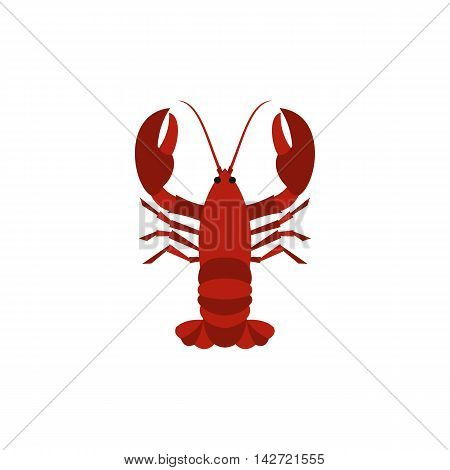 Boiled red crayfish icon in flat style isolated on white background