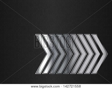 Black and silver metallic background with arrows, Vector illustration