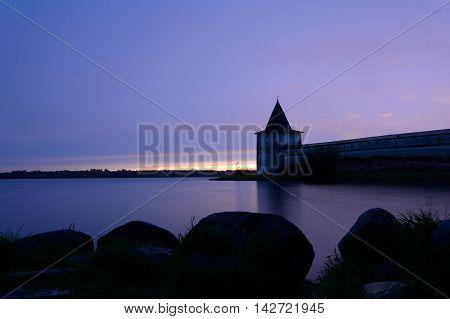 Kirillo-Belozersky monastery after sunset near City Kirillov Vologda region Russia.