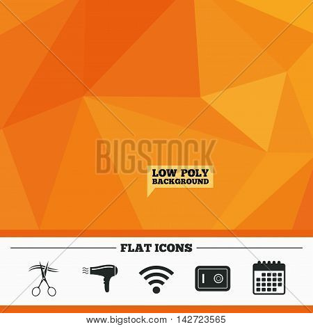 Triangular low poly orange background. Hotel services icons. Wi-fi, Hairdryer and deposit lock in room signs. Wireless Network. Hairdresser or barbershop symbol. Calendar flat icon. Vector