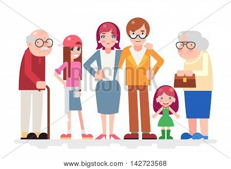 Happy Family Characters Love Together Child and Teen Adult Old Icon Flat Design Vector Illustration