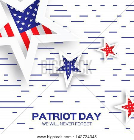Origami Patriot Day background with stars and lines. Abstract american flag. We will never forget. September 11 2001. Vector illustration. Poster Template.