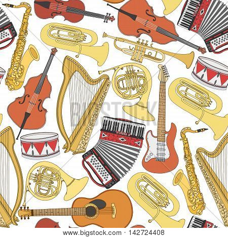 Hand drawn musical instruments seamless pattern. Music background