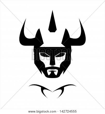 Warrior Head black horned warrior. black horned warrior on white background