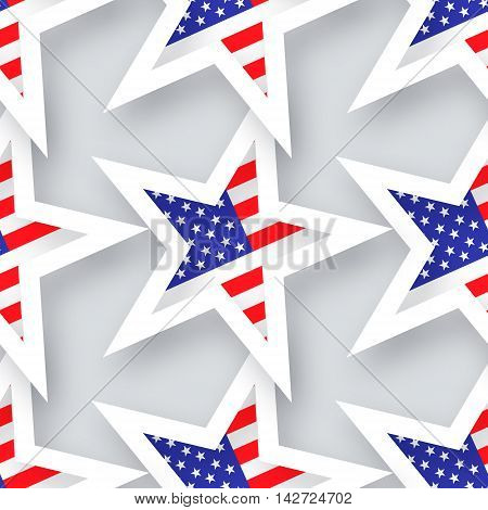 Abstract american flag seamless pattern. Origami Patriot Day on grey background with stars and stripes. Vector illustration