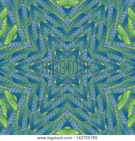 Kaleidoscopic green pattern leaves and floral design textile printing industry in a variety of design projects.