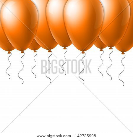 Abstract creative concept vector flight orange balloon with ribbon. For Web and Mobile Applications isolated on background, art illustration template design, business infographic and social media icon.
