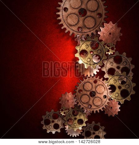 copper and brass gears on the red metallic wall. 3d illustration. material design. vintage style background.