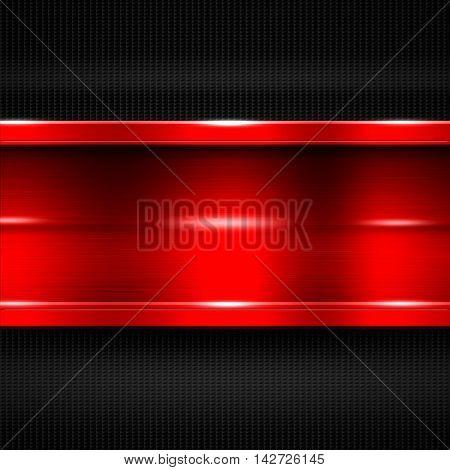 red metal banner on black carbon fiber. metal background. 3d illustration.